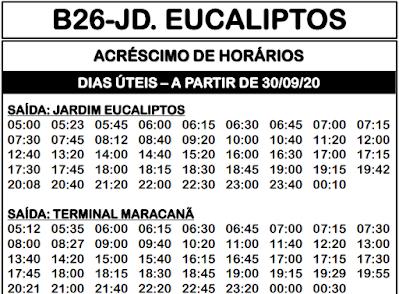 Horário de ônibus B26 JD. EUCALIPTOS 2020   Colombo PR