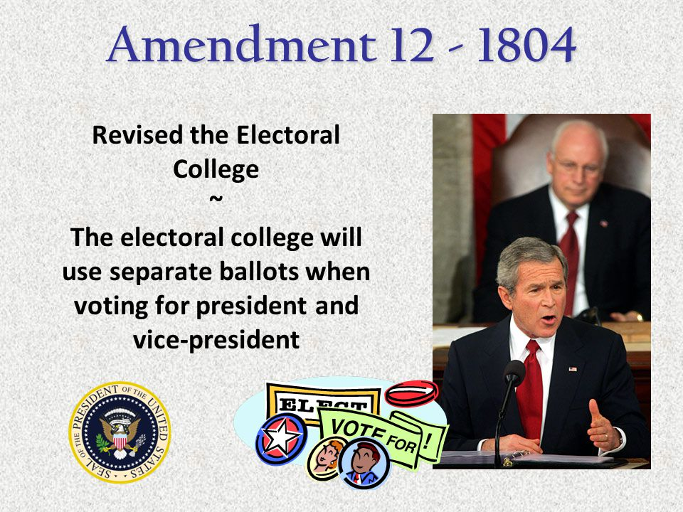 the twelfth amendment Why was the 12th amendment created if no candidate for vice president has majoirty of the total votes the senate with each senator having one vote chooses the vice.