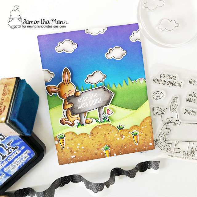 Wish you were Hare Card by Samantha Mann | Hoppy Greetings Stamp Set, Land Borders Die Set and Sky Borders Die Set by Newton's Nook Designs #newtonsnook #handmade