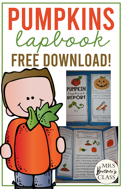REE Pumpkin Life Cycle Lapbook where students can show what they have learned about the pumpkin life cycle. A fun resource for teaching about pumpkins in the fall. #freebies #fall #lapbooks #pumpkins #1stgrade #kindergarten #2ndgrade #pumpkinlifecycle