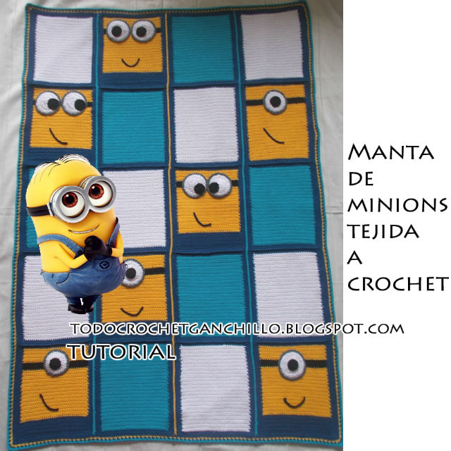 Sobrecama tejida al crochet con diseño de Minions