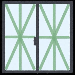 テープで補強された窓のイラスト