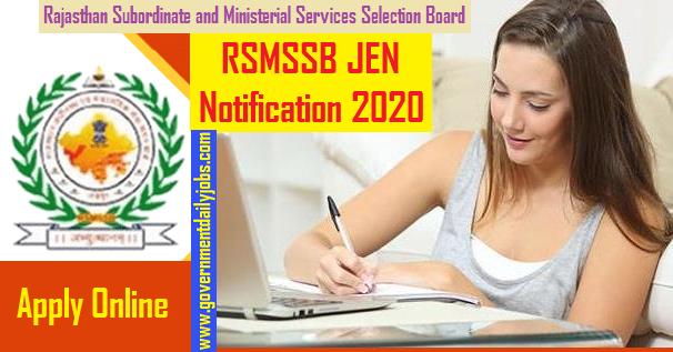 RSMSSB JEN RECRUITMENT NOTIFICATION 2020