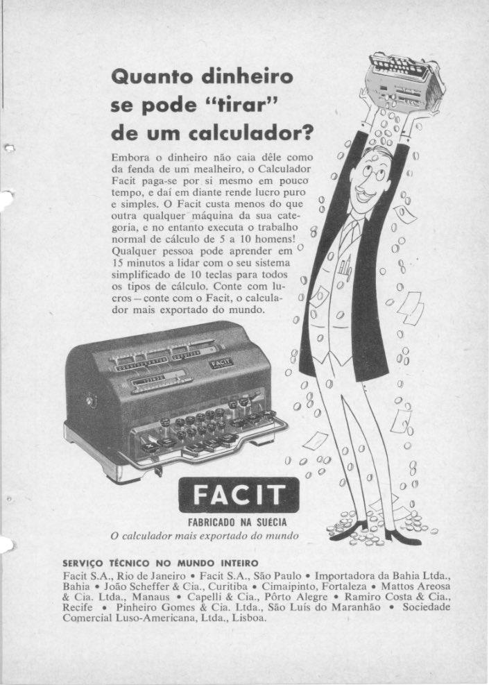 Propaganda antiga veiculada em 1952 para promover a calculadora manual Facit
