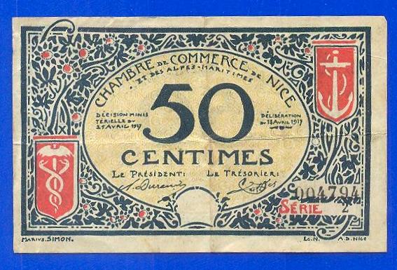 France billet de 50 centimes 1917 1919 chambre de for Chambre de commerce de nice