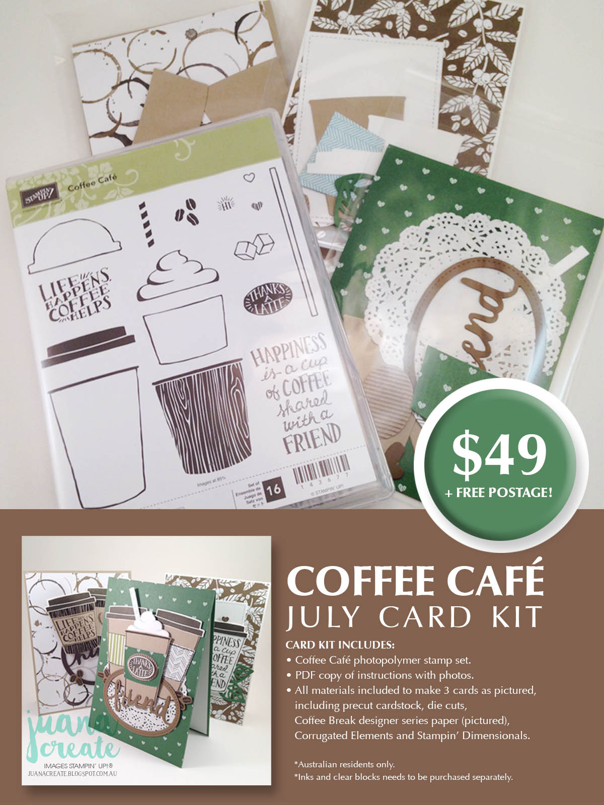 Coffee Café July Card Kit