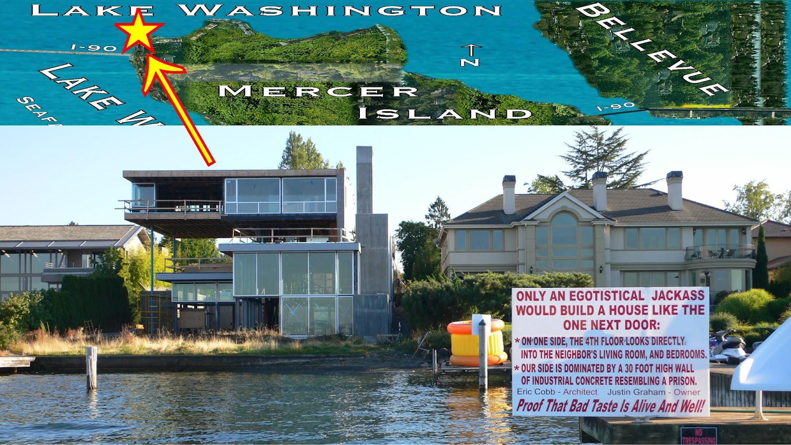 Seattle Mansions Famous Sign  Mercer Island North End