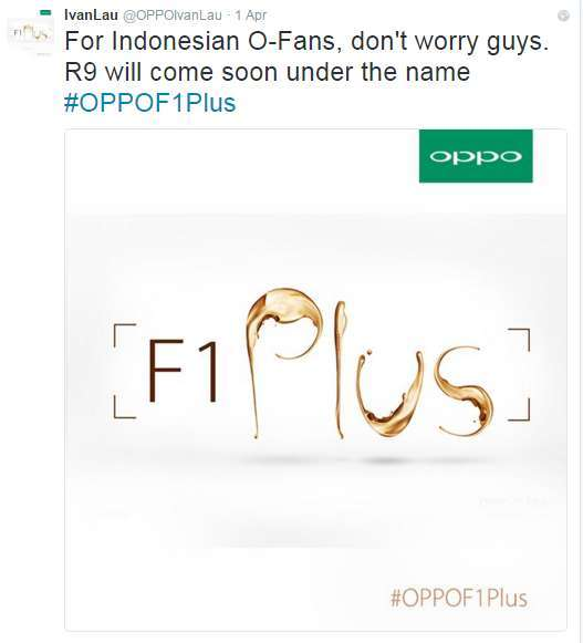 Oppo R9 akan dijual dipasar Indonesia dengan nama Oppo F1 Plus