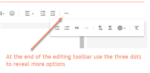 editing toolbar