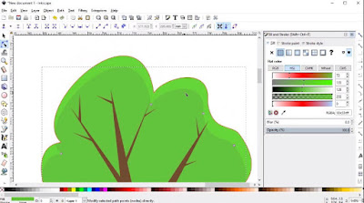 Adding highlights to a tree in Inkscape.