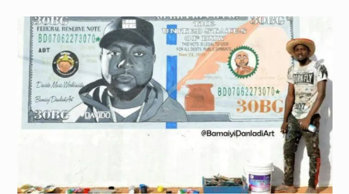 Davido Reacts To A Wonderful Painting Of Him On A Dollar Bill
