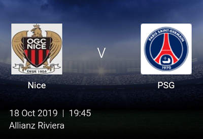 LIVE MATCH: Nice Vs PSG French Ligue 1 18/10/2019