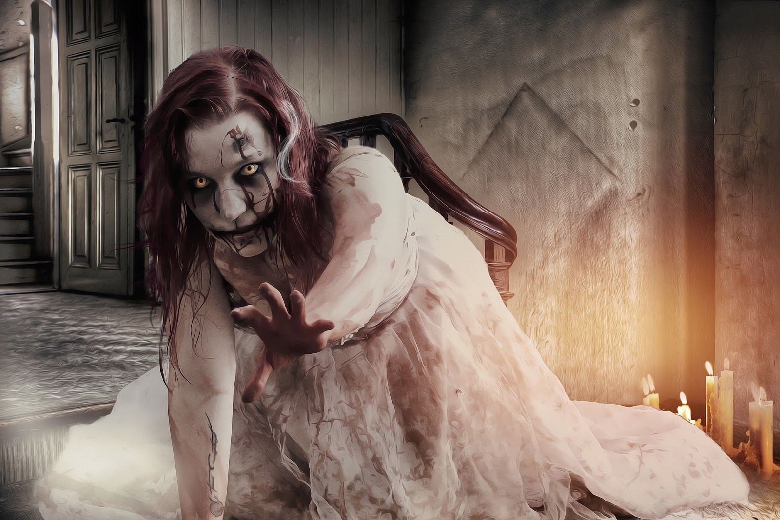 young female zombie in white dress crawls toward the camera to illlustrate blog post about zombie war movies