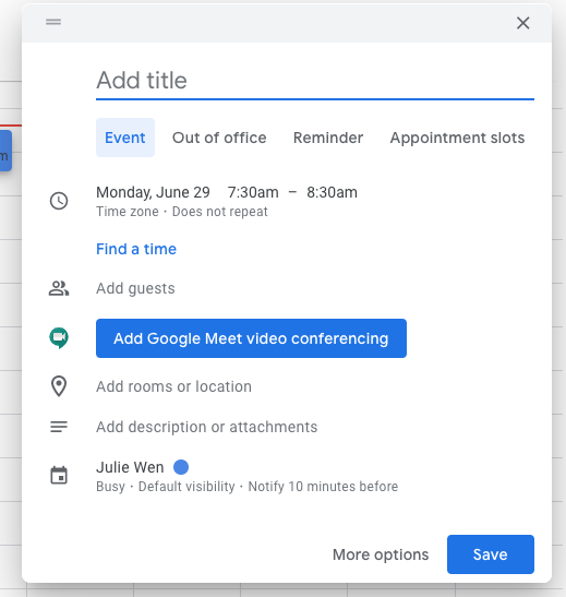 Improved Google Calendar event creation on the web 1
