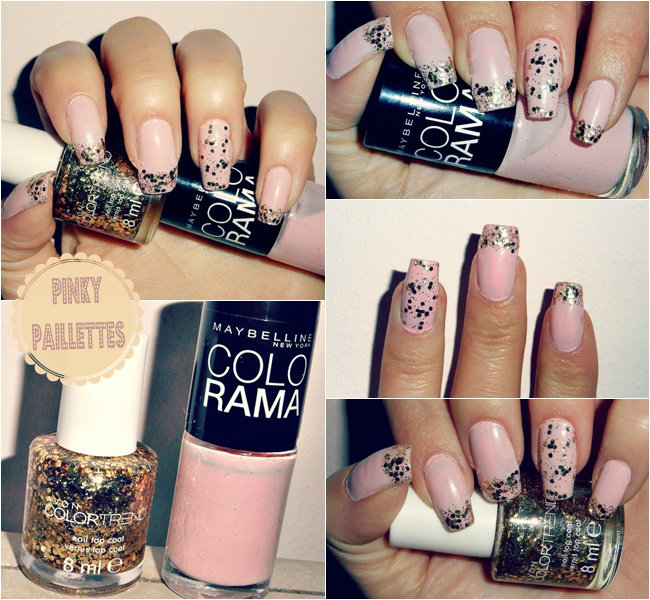 pale pink nails with gold sequined top coat, girly nail polish ideas