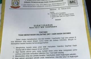 Surat Edaran Larangan Perayaan Valentine Day Pemkot Makassar