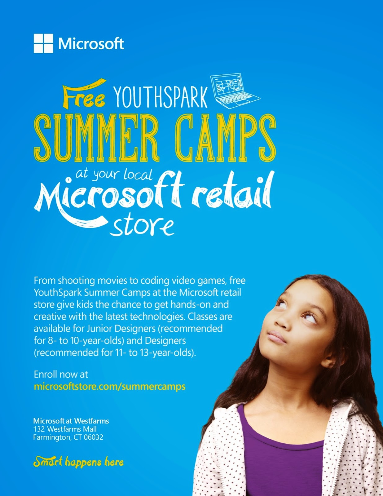 home place microsoft summer camp at the westfarms mall in ct here s a link to a able printable flyer to share > microsoft camp flyer