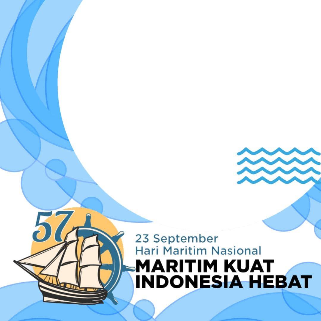 Download Desain Template Bingkai Twibbon Ucapan Hari Maritim Nasional 2021, Maritim Kuat Indonesia Hebat
