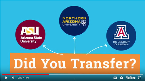 snapshot from Maricopa Community Colleges transfer video.  Image of ASU, NAU and UofA logos.  Text: Did You Transfer?