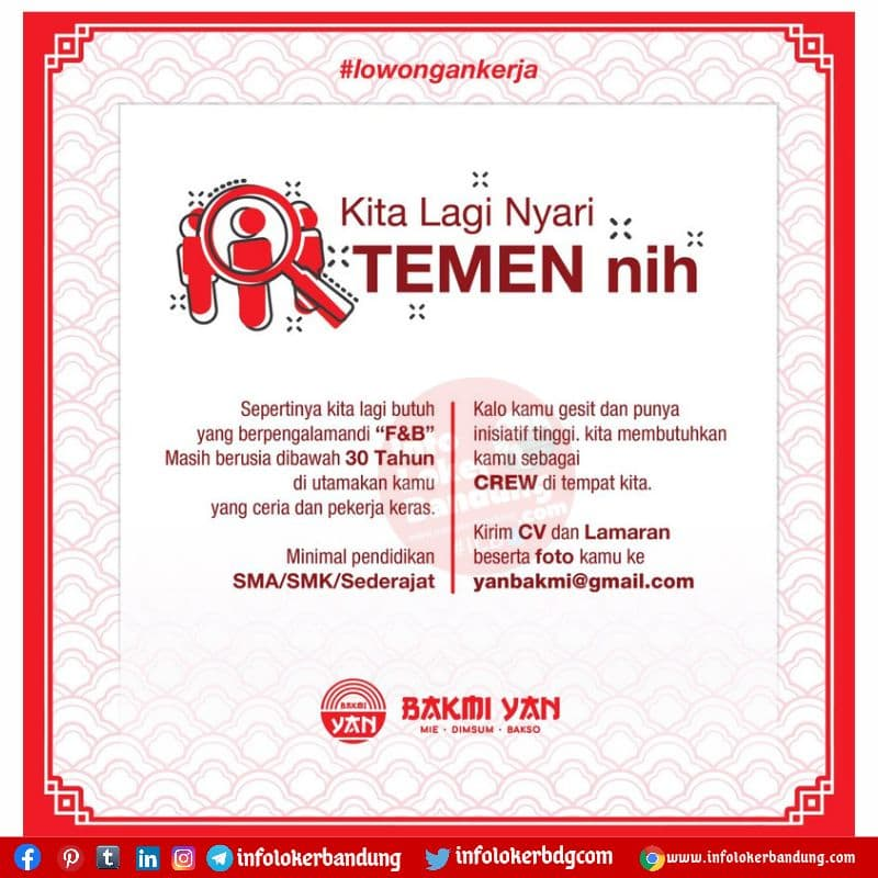 Lowongan Kerja Crew Part Time Bakmi Yan Cimahi Agustus 2021