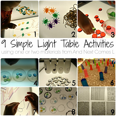9 simple light table activities for kids using one or two materials from And Next Comes L