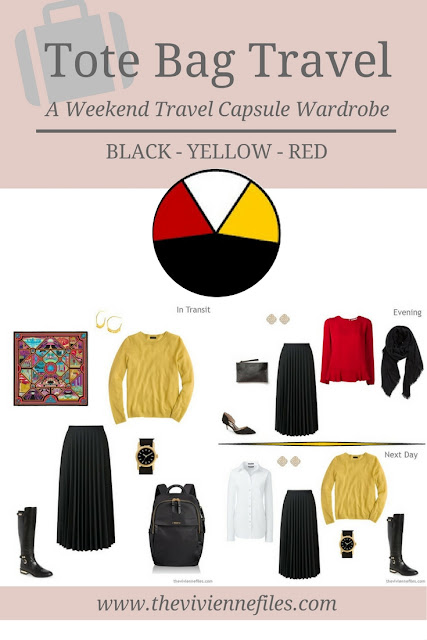A weekend travel capsule wardrobe in a red, black, and yellow color palette