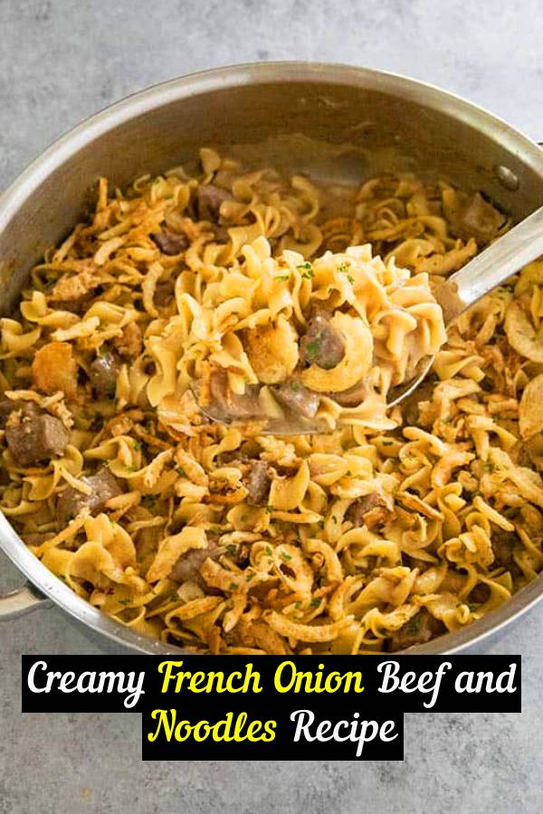 Creamy French Onion Beef and Noodles is a creamy, easy, and delicious one pot dinner! Your family will love this savory combo of tender beef and egg noodles! #beef #onepot #comfortfood #dinner