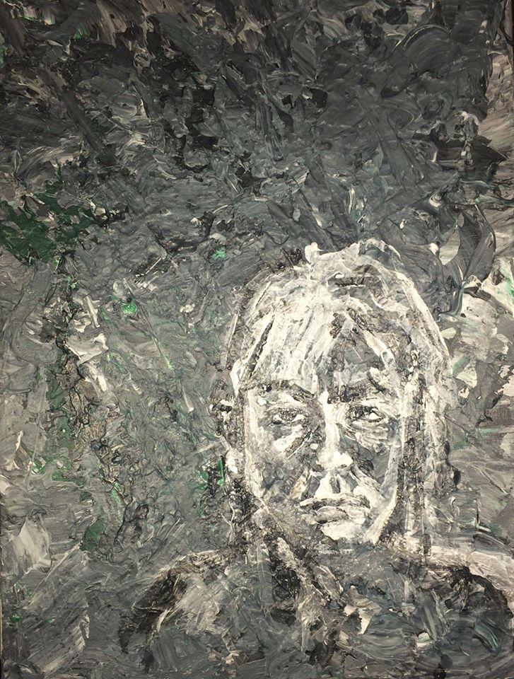 autoportrait de Karine Babel peint par Karine Babel à l'acrylique et nommé idées noires