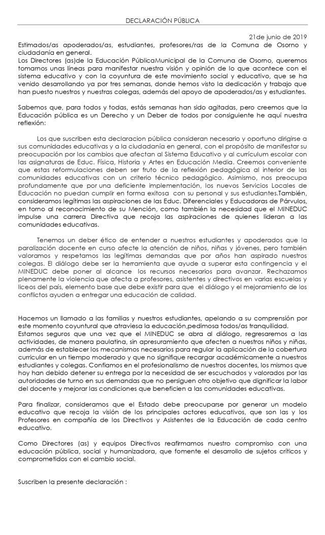 Declaración pública de los Directores de Escuelas y Liceos de Osorno
