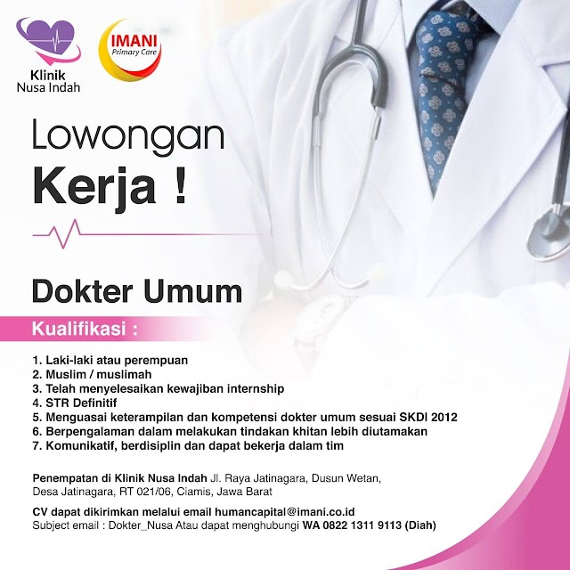 Loker Dokter Klinik Nusa Indah Ciamis, Jawa Barat