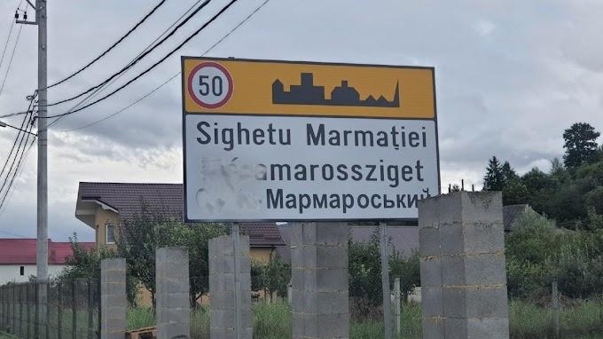 Lefestették Máramarossziget háromnyelvű helységnévtábláját