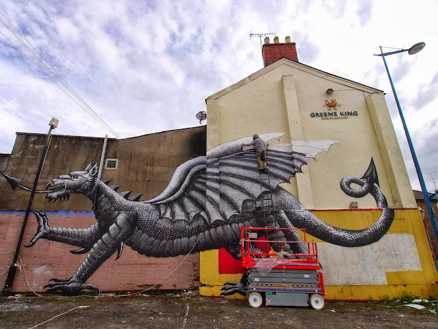 Street Art By Phlegm For Empty Walls Urban Art Festival In Cardiff, Wales. 4