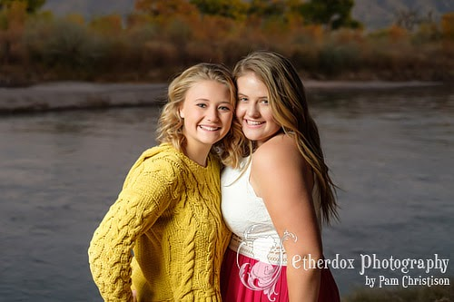 professional photo of two high school senior girls in Corrales