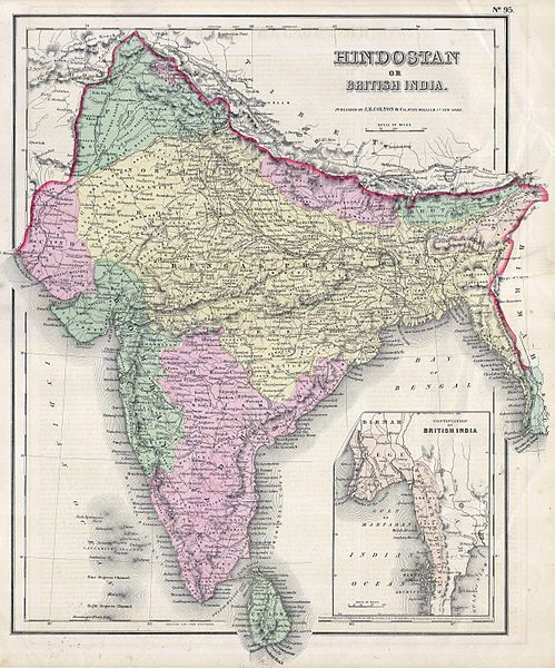 British India or Hindostan Map By JH Colon 1855