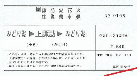 JR東日本 第63回諏訪湖花火往復乗車券1 常備券 軟券 みどり湖駅