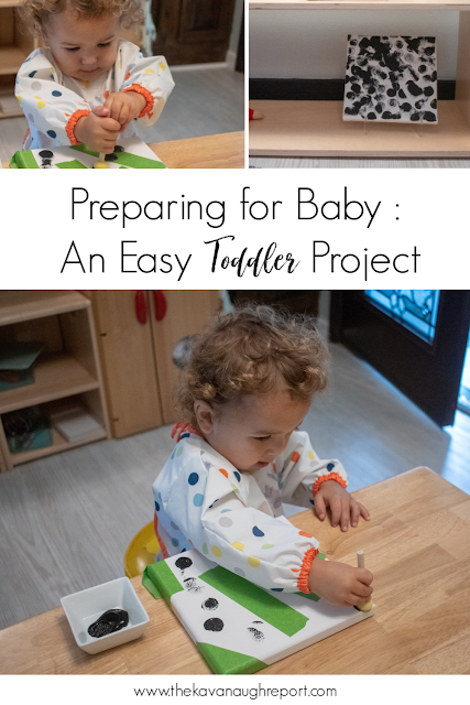 Some easy Montessori friendly ideas on how to involve your toddler in your new baby preparations.