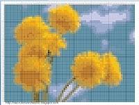 Одуванчики схема вышивки в цвете