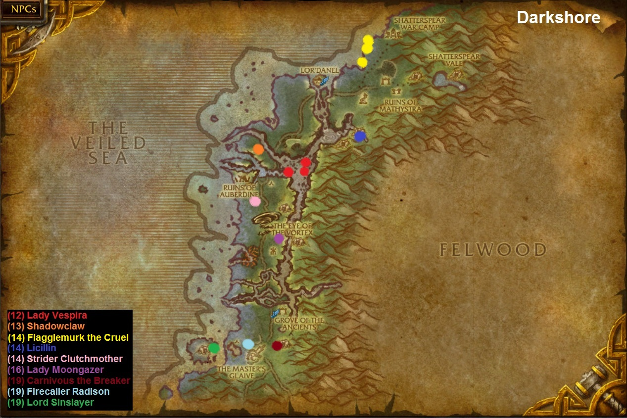 WoW Rare Spawns: Darkshore Rare Spawns