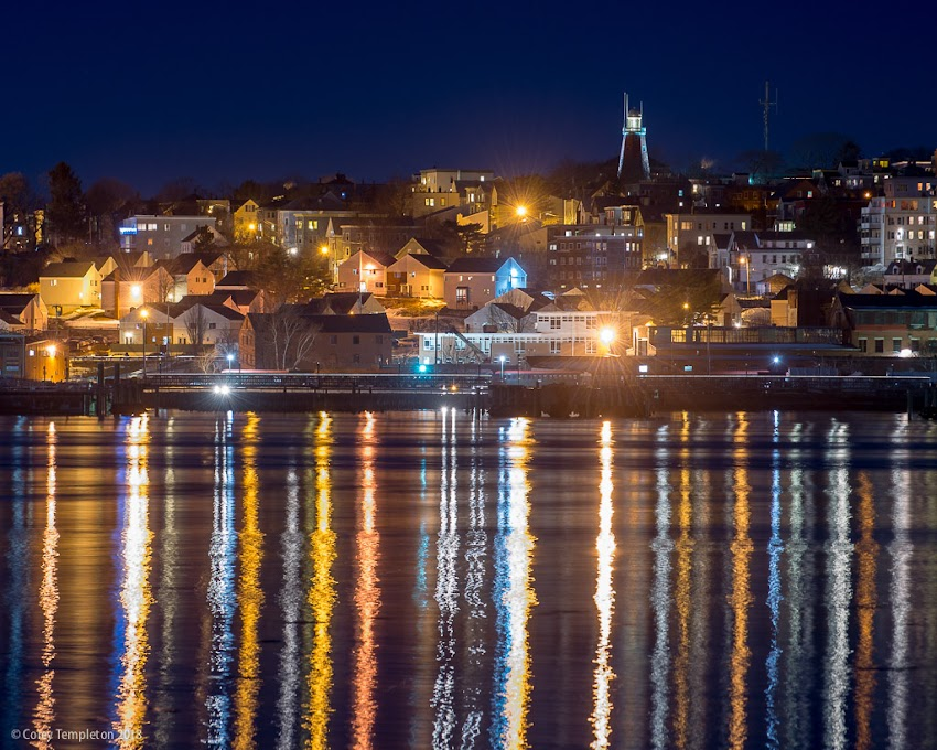 Portland, Maine USA January 2018 photo by Corey Templeton. A nighttime view towards Munjoy Hill from back in January.