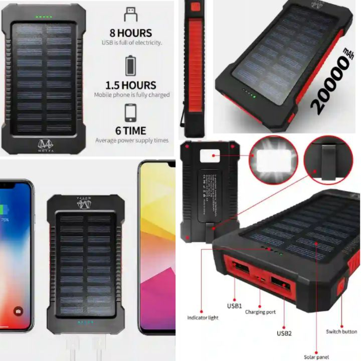 Movfa Powerbank: 20000mAh High Capacity Mobile Battery Fast Charger - Dual USB Power Bank with Flashlights