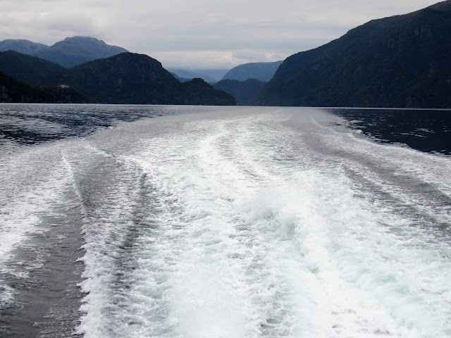 Wake from the ferry on our Osterfjorden cruise in Bergen
