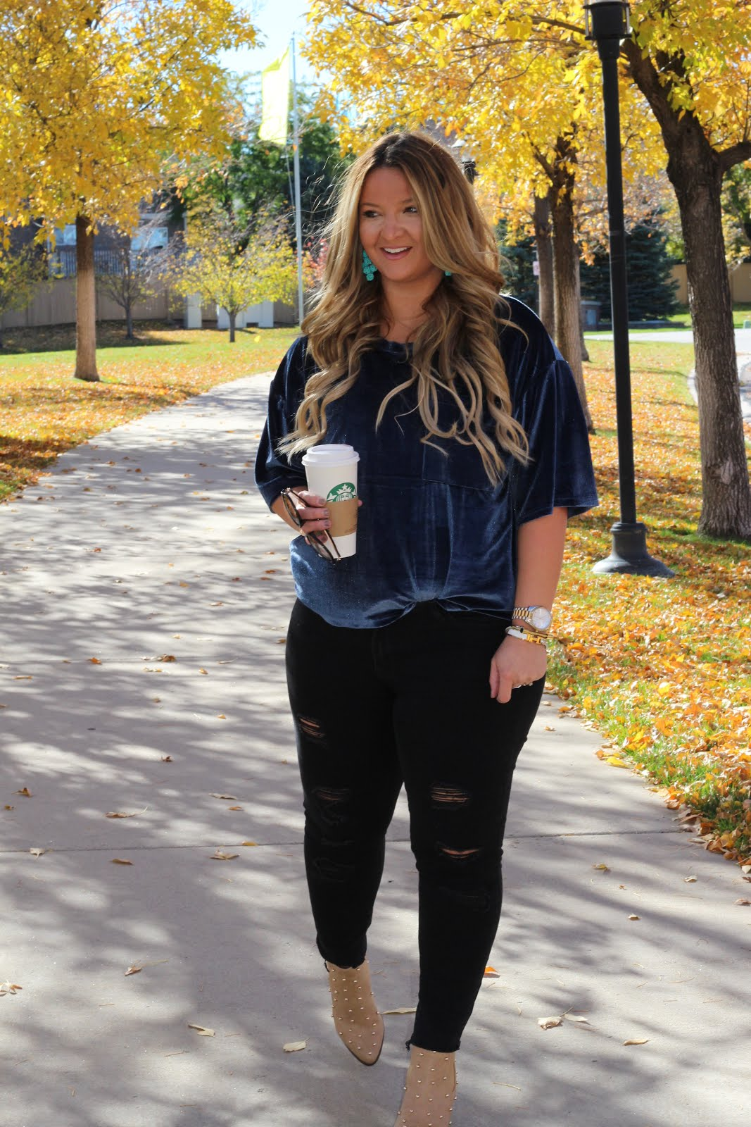Her Blue Velvet top by Colorado fashion blogger Delayna Denaye