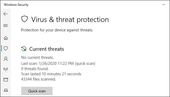شاشة الحماية من الفيروسات والتهديدات الأمنية في نظام Windows 10