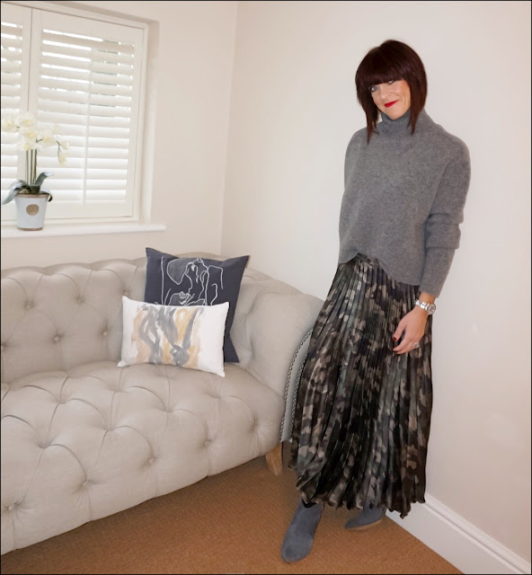 My Midlife Fashion, zara cropped chunky polo neck jumper, asos satin pleated midi skirt in camp, hush thornton ankle boots