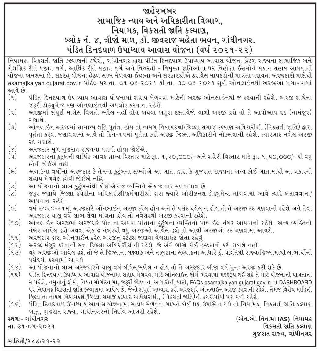 Gujarat Makan Sahay Yojana: Pandit Din Dayal Upadhyay Awas Yojana 2021-22