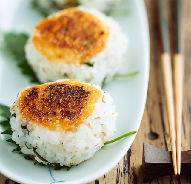 Miso Glazed Grilled Rice Balls #japaneserecipe #dinner
