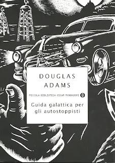 guida galattica per gli autostoppisti douglas adams copertina felice con un libro