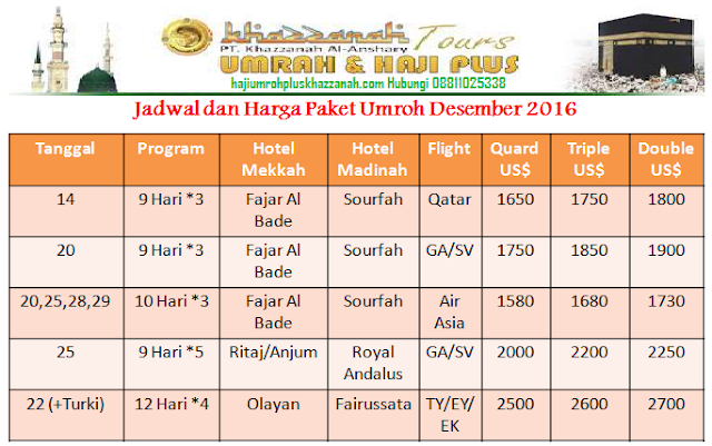jadwal dan harga paket umroh desember 2016 khazzanah Tour dan Travel