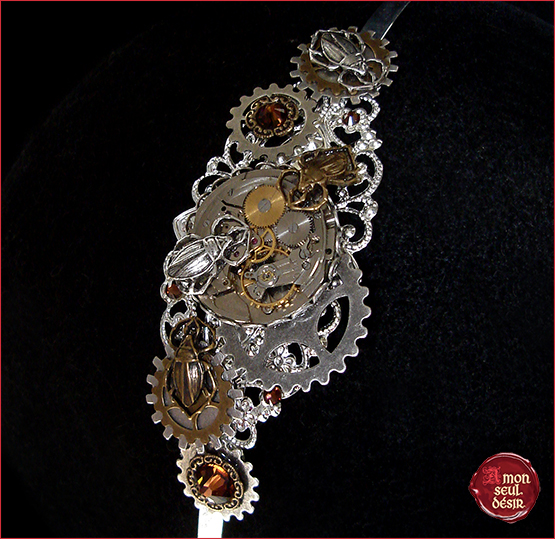 serre tete steampunk headband headdress clockwork watchwork victorian jewelry gear wheel