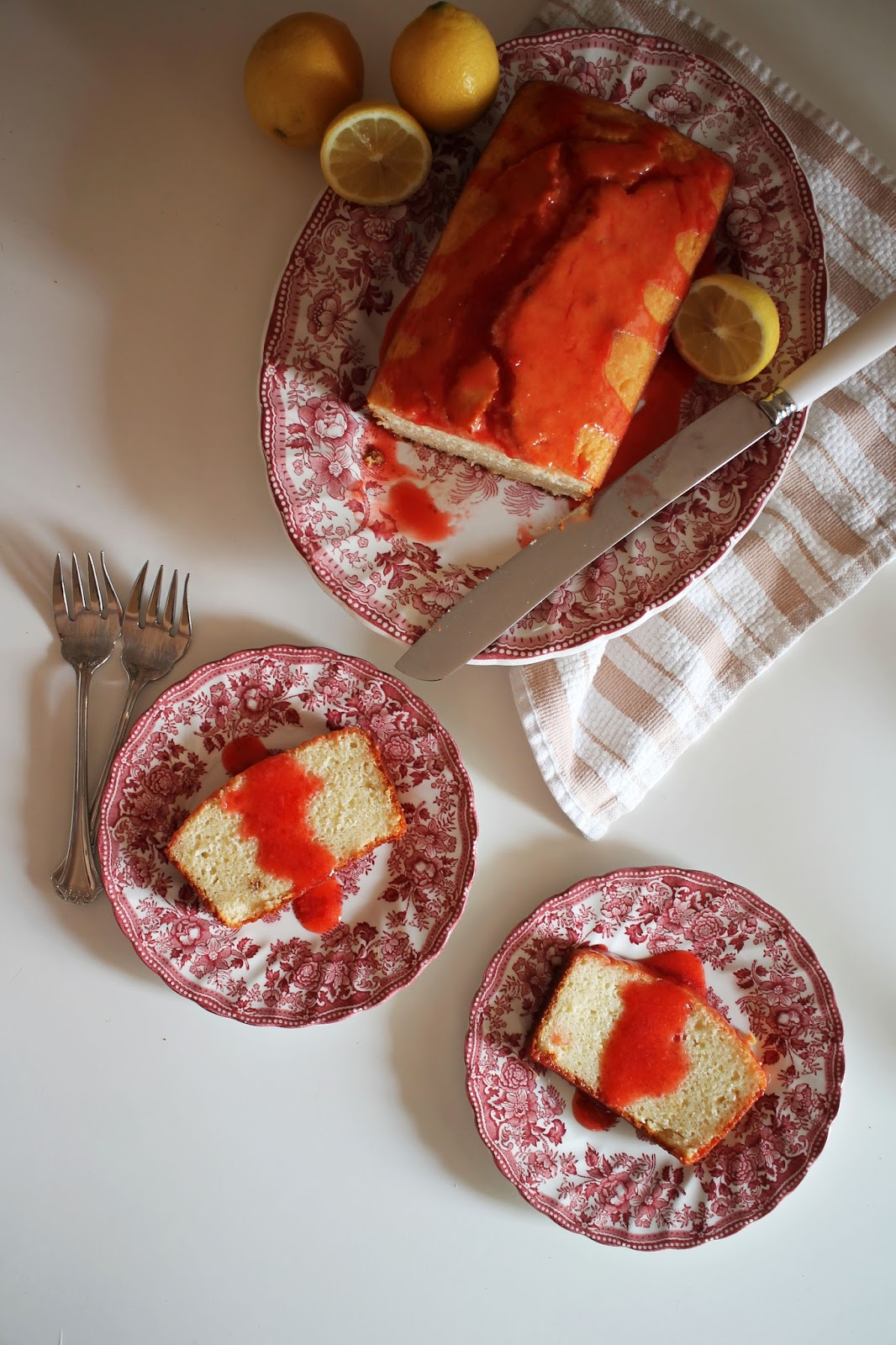 Lemon Yogurt Cake with Strawberry Sauce